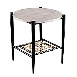 Holly & Martin® Relckin Faux Marble 22-Inch Round End Table in Black/Natural