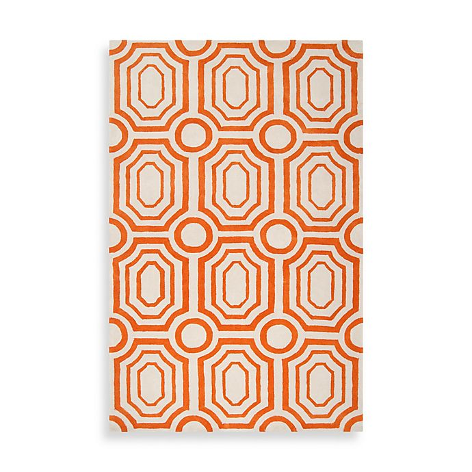 Alternate image 1 for angelo:HOME Hudson Park Geometric Rug in Orange/White