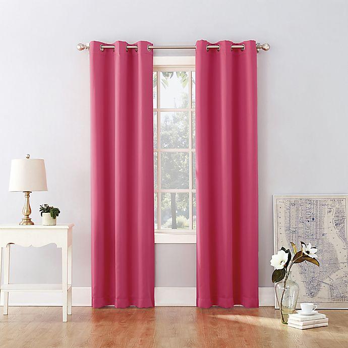 Alternate image 1 for Sun Zero® Riley Kids Bedroom 63-Inch Grommet Room Darkening Window Curtain Panel in Pink