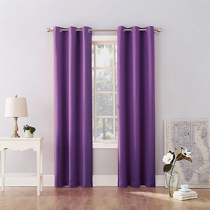 Alternate image 1 for Sun Zero® Riley Kids Bedroom 63-Inch Room Darkening Curtain Panel in Purple (Single)