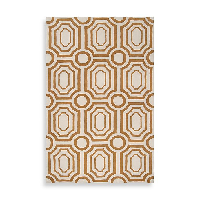 Angelo Home Hudson Park Geometric Rug In Gold White Bed