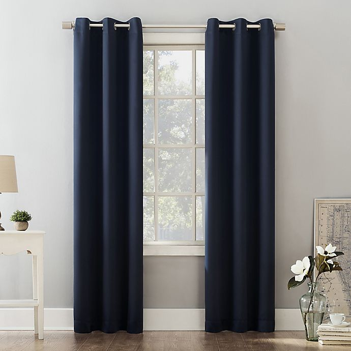 Alternate image 1 for Sun Zero® Riley Kids Bedroom 84-Inch Grommet Room Darkening Window Curtain Panel in Navy