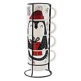 American Atelier Adorable Penguin 5-Piece Coffee Mug Set with Storage Rack
