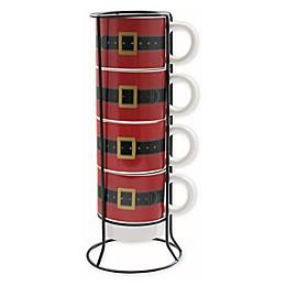 American Atelier Adorable Santas' Belt 5-Piece Coffee Mug Set with Storage Rack