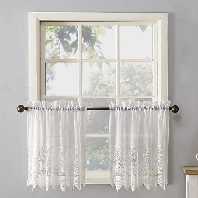Alternate image 1 for No.918® Joy Lace Rod Pocket Sheer Kitchen Curtain Tier Pair