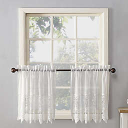 No.918® Joy Lace Rod Pocket Sheer Kitchen Curtain Tier Pair