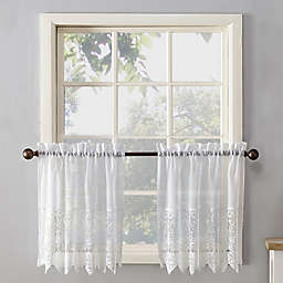 No.918® Joy Lace 36-Inch Rod Pocket Sheer Kitchen Curtain Tier Pair in White
