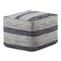 Simpli Home™ Clay Square Cotton Pouf in Blue