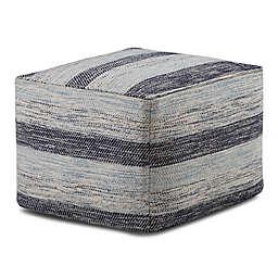 Simpli Home™ Clay Square Cotton Pouf in Blue
