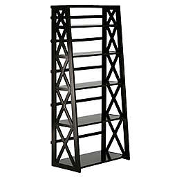 Simpli Home Kitchener Ladder Shelf Bookcase in Brown