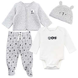 Mac & Moon 4-Piece Sheep Cardigan, Bodysuit, Pant, and Hat Set in Grey