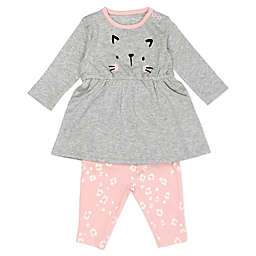 Mac & Moon 2-Piece Cat Face Dress and Legging Set in Grey