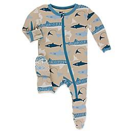 KicKee Pants® Burlap Shark Toddler Footie in Blue