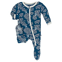 KicKee Pants® Coral Fans Toddler Footie in Blue