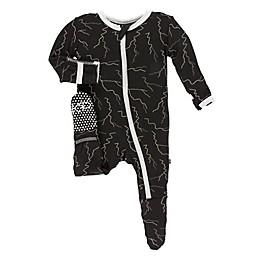 KicKee Pants® Toddler Lightning Footie in Black