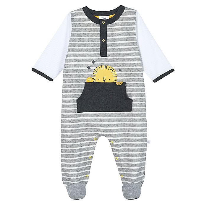 Alternate image 1 for Just Born® Lil' Lion Organic Cotton Sleep 'n Play Footie in White/Grey