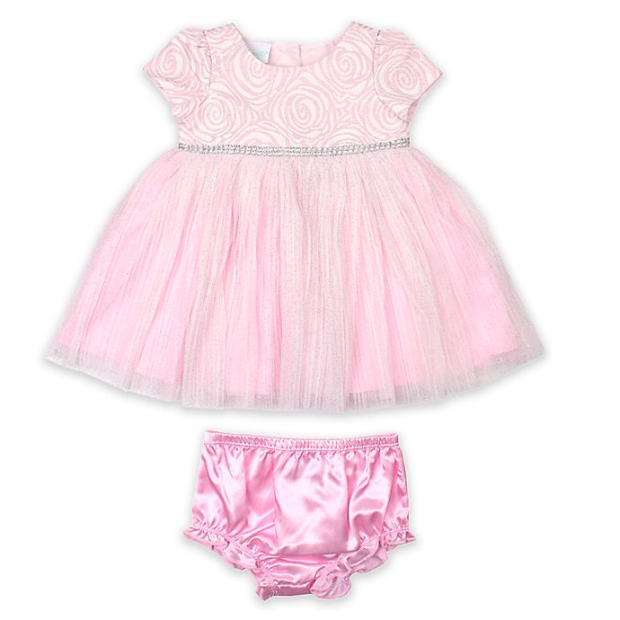Alternate image 1 for Nannette Baby® 2-Piece Glitter Rhinestone Dress and Panty Set in Pink