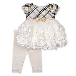 Nannette Baby® 2-Piece Plaid Dress and Legging Set in Ivory