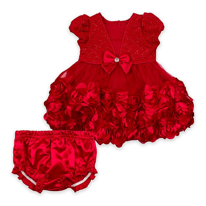 Alternate image 1 for Nanette Baby® Rosette Dress with Diaper Cover in Red