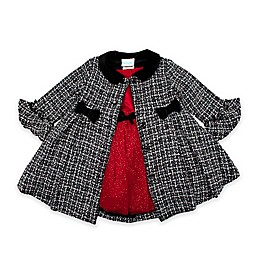 Nannette Baby® 2-Piece Satin Woven Dress and Jacket Set in Black