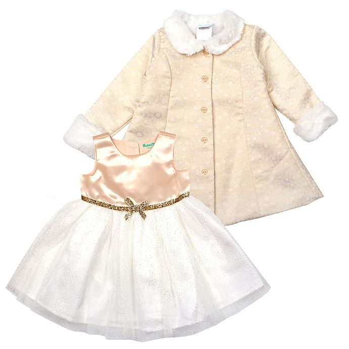 Alternate image 1 for Nannette Baby® 2-Piece Satin Woven Dress and Jacket Set in Gold