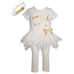 Bonnie Baby Size 0-3M 3-Piece New Girl Dress, Legging, and Headband Set