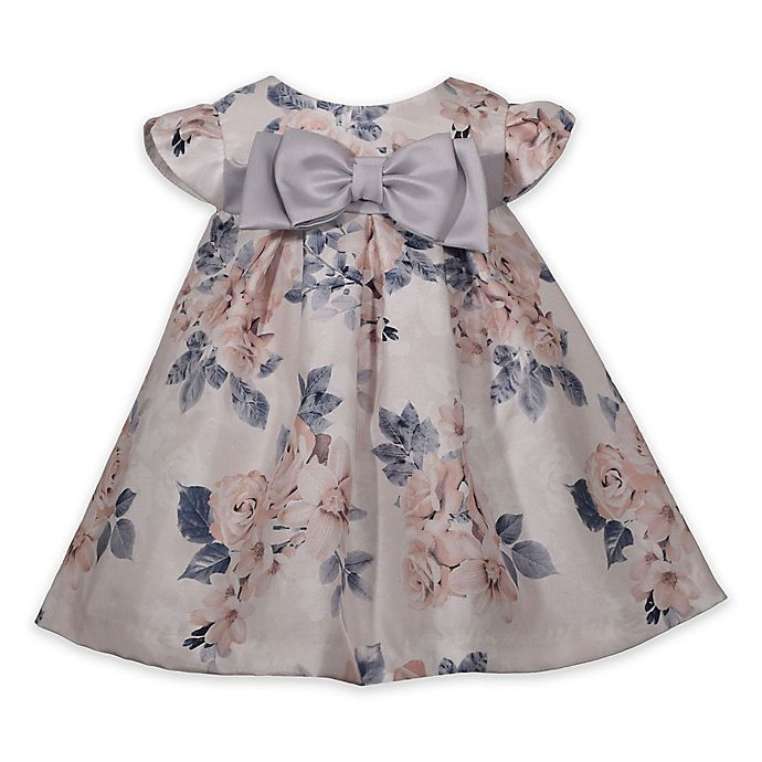 Alternate image 1 for Bonnie Baby Floral Dress in Beige/Grey