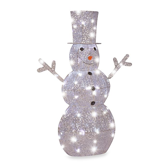 4 Foot Starrynight Crystal Clear Led Light Snowman Bed