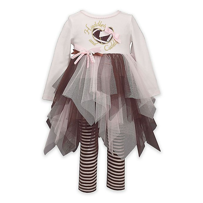 Alternate image 1 for Bonnie Baby 2-Piece Tutu Top and Leggings Set in Brown