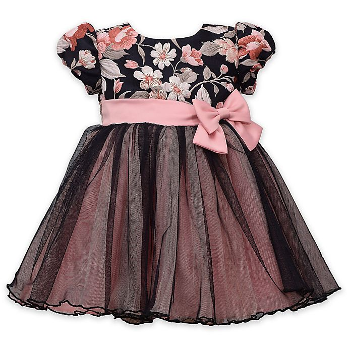 Alternate image 1 for Bonnie Baby Pink Floral Dress in Navy