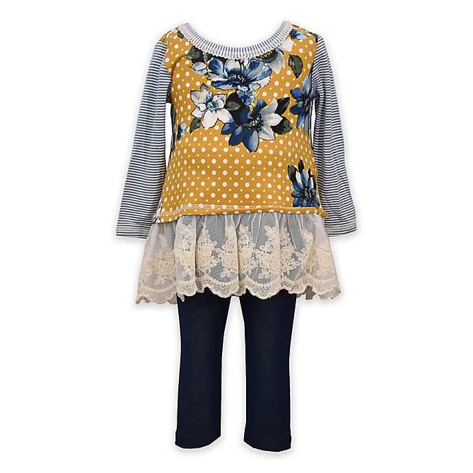 Alternate image 1 for Bonnie Baby 2-Piece Floral Top and Legging Set in Mustard/Denim
