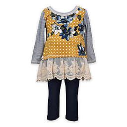 Bonnie Baby 2-Piece Floral Top and Legging Set in Mustard/Denim
