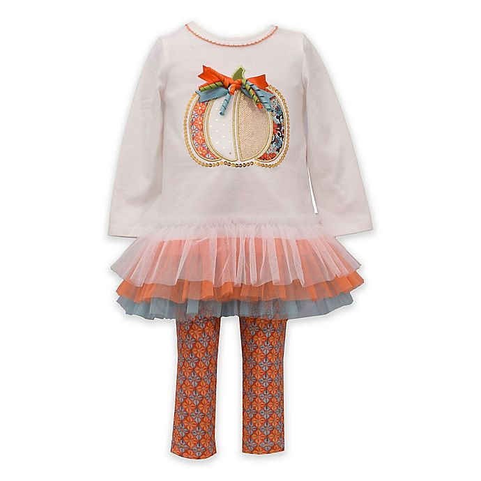 Alternate image 1 for Bonnie Baby 2-Piece Pumpkin Tutu Top and Legging Set in Ivory