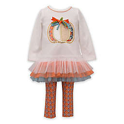 Bonnie Baby 2-Piece Pumpkin Tutu Top and Legging Set in Ivory