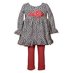 Bonnie Baby 2-Piece Flower Top and Legging Set in Coral