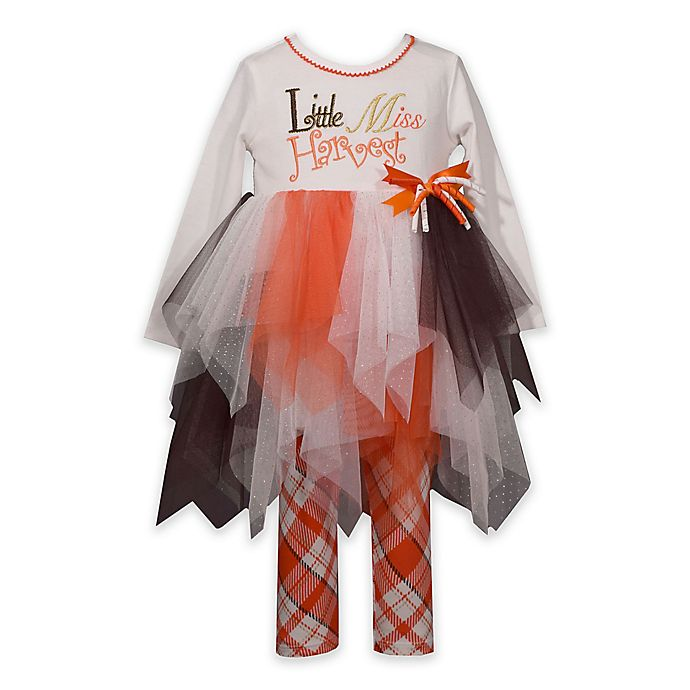 Alternate image 1 for Bonnie Baby 2-Piece Little Miss Harvest Tutu Shirt and Legging Set