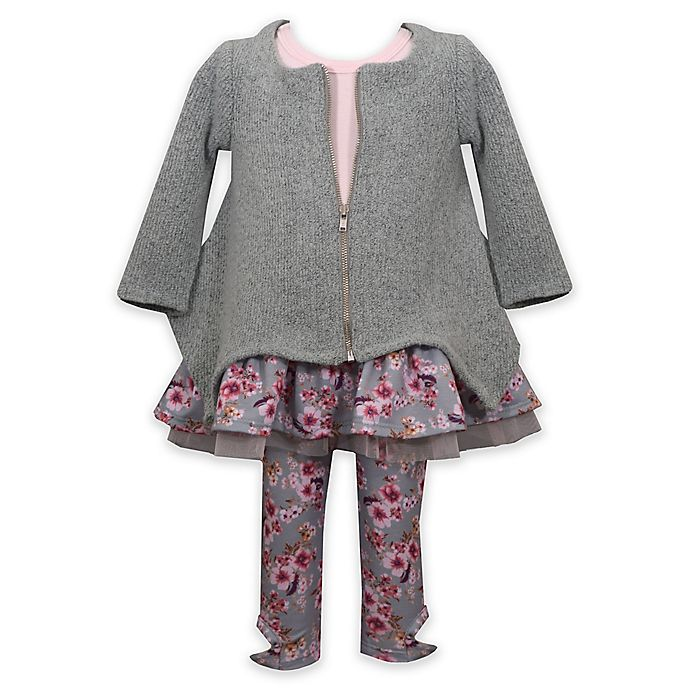 Alternate image 1 for Bonnie Baby 3-Piece Floral Flounce Top, Cardigan, and Legging Set in Sage