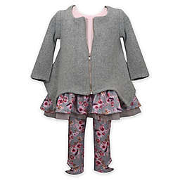 Bonnie Baby 3-Piece Floral Flounce Top, Cardigan, and Legging Set in Sage