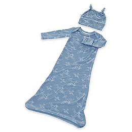 Gunamuna® Size 0-3M 2-Piece Planes Gown and Hat Set in Blue
