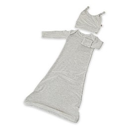 Gunamuna® Size 0-3M 2-Piece Gown and Hat Set in Heather Grey