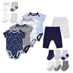 Fruit of the Loom 16-Piece Bodysuits, Pants, and Socks Set in Navy/Grey