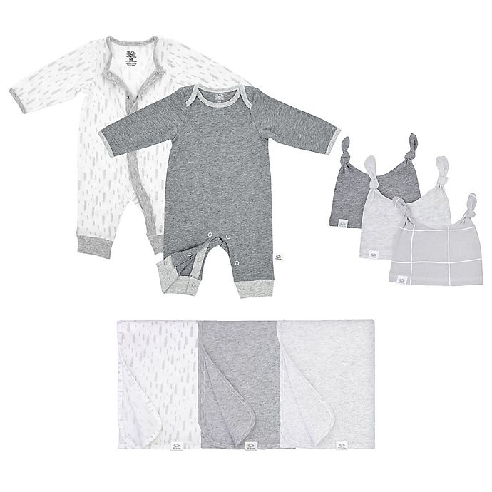 Alternate image 1 for Fruit of the Loom 8-Piece Bodysuits, Hats, and Blankets Set in Grey/White