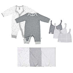 Fruit of the Loom 8-Piece Bodysuits, Hats, and Blankets Set in Grey/White