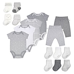 Fruit of the Loom 16-Piece Bodysuits, Pants, and Socks in Grey/White
