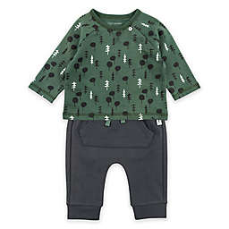 Mac & Moon 2-Piece Forest Top and Pant Set in Green/Charcoal