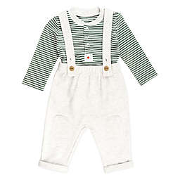 Mac & Moon 2-Piece Striped Bodysuit and Overall Set