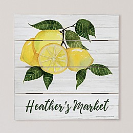 Citrus Lemon Personalized 12-Inch Square Wooden Shiplap Sign