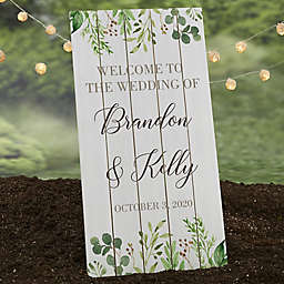 Laurels of Love 16-Inch x 31.5-Inch Personalized Standing Wood Wedding Sign
