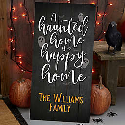 Haunted Home Personalized Standing Wood Sign