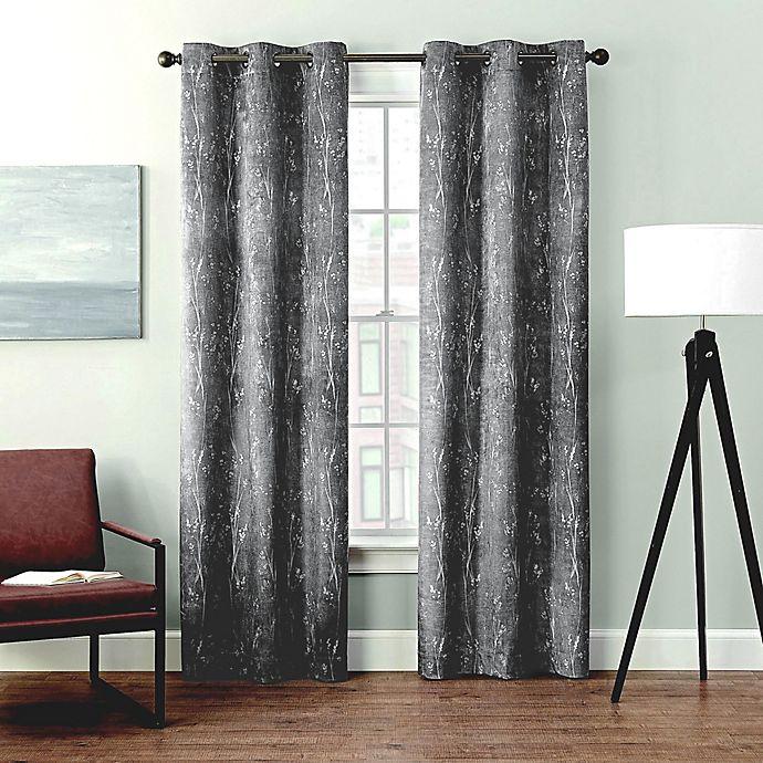 Alternate image 1 for Brookstone® Velvet Sprigs Grommet Blackout Window Curtain (2-Pack)